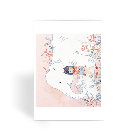 Girl and Elephant - Greeting Card