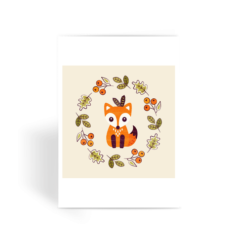 Little Fox with Autumn Berries - Greeting Card