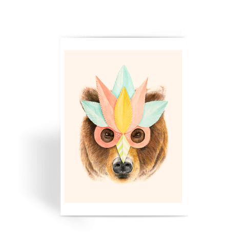 Bear Paper Mask - Greeting Card