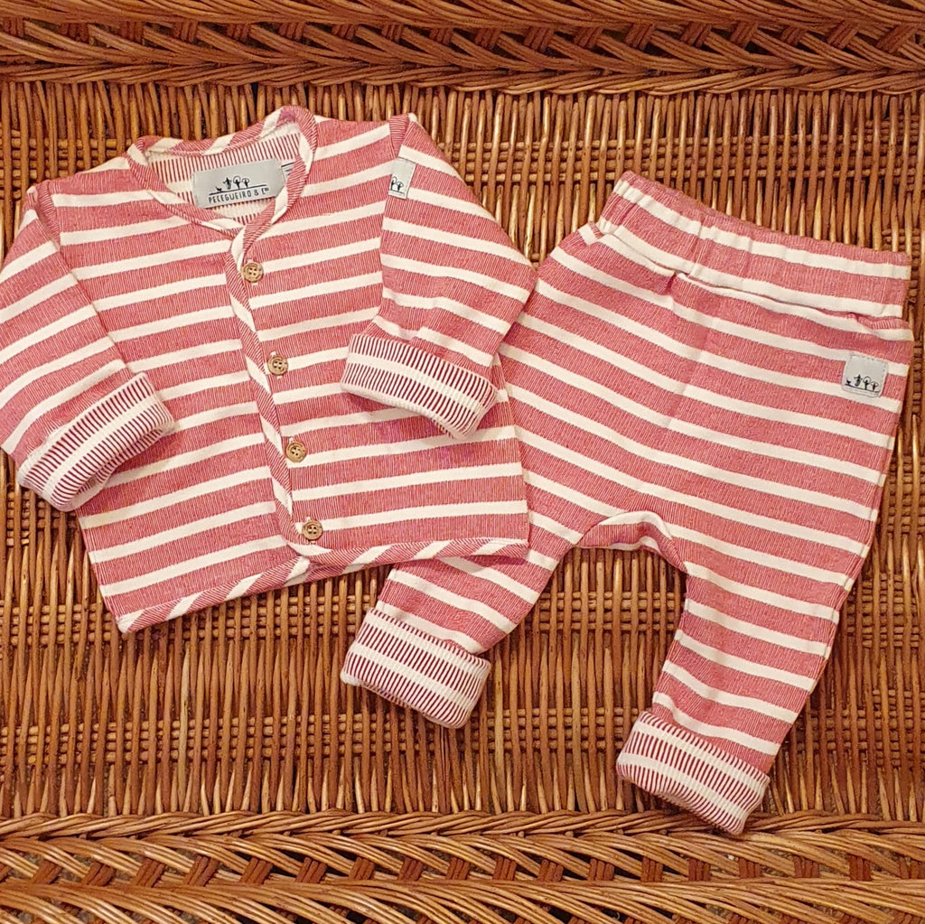 Jersey cardigan and trousers set - Red stripes