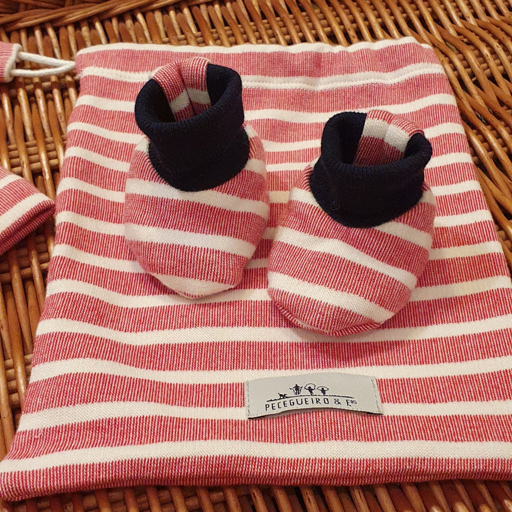 Newborn baby gift set | Ecru and Red Stripes