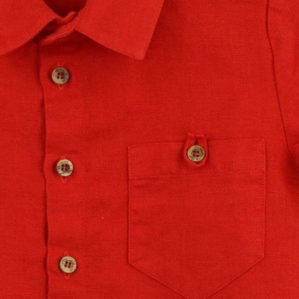 Linen Blend Shirt | Red