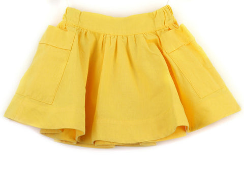 Linen blend skirt | Yellow