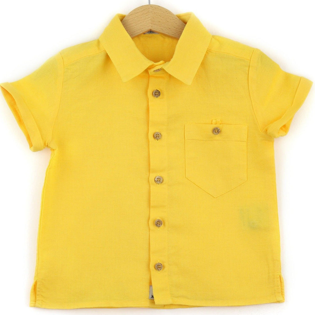 boys linen shirt, yellow - front