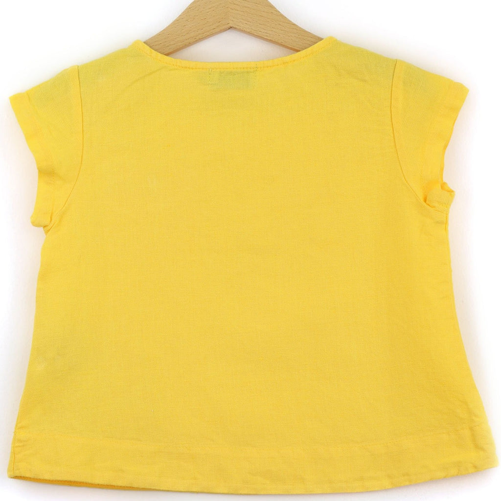 Linen t-shirt with chest pocket, yellow color - back