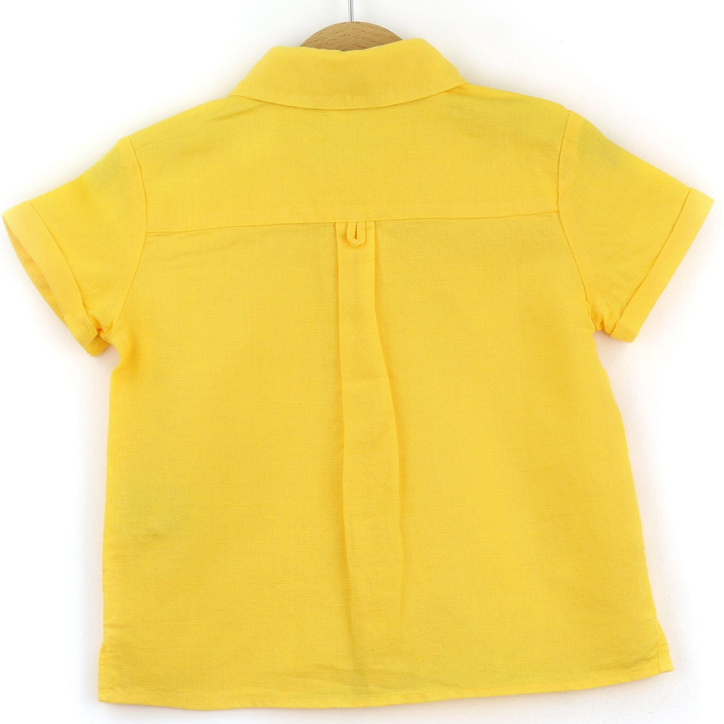 boys linen shirt, yellow - back