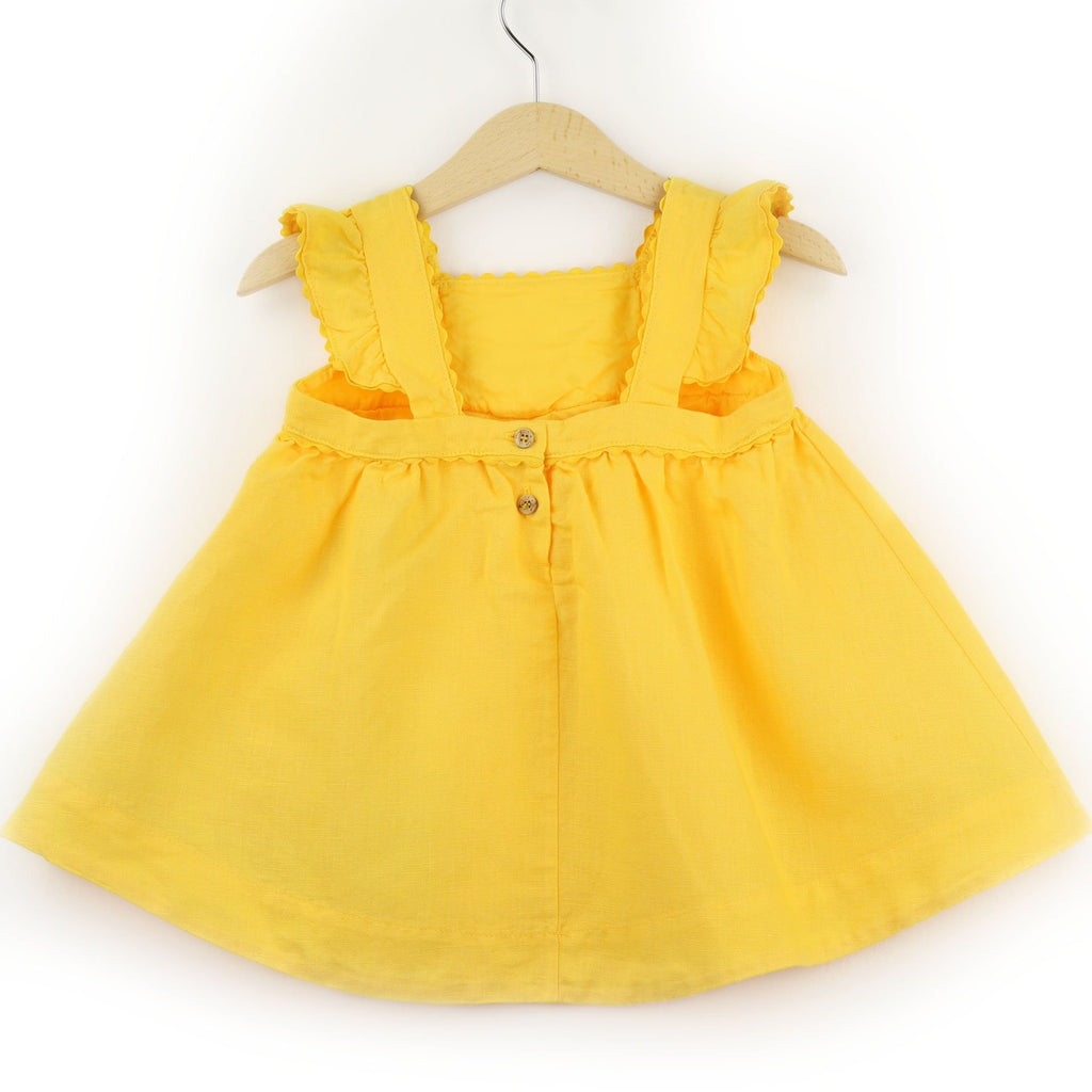 Girls Linen Dress  | Yellow - PECEGUEIRO & F.os