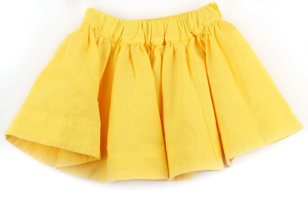 Linen blend Girls Skirt | Yellow
