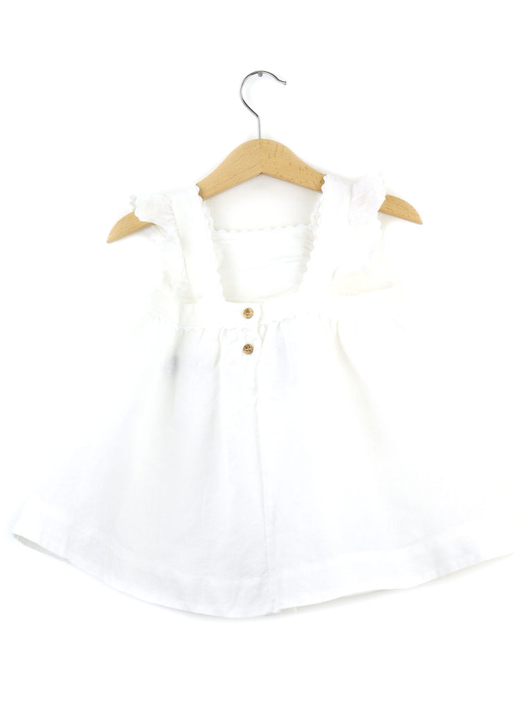 Girls Linen Dress  | White - PECEGUEIRO & F.os