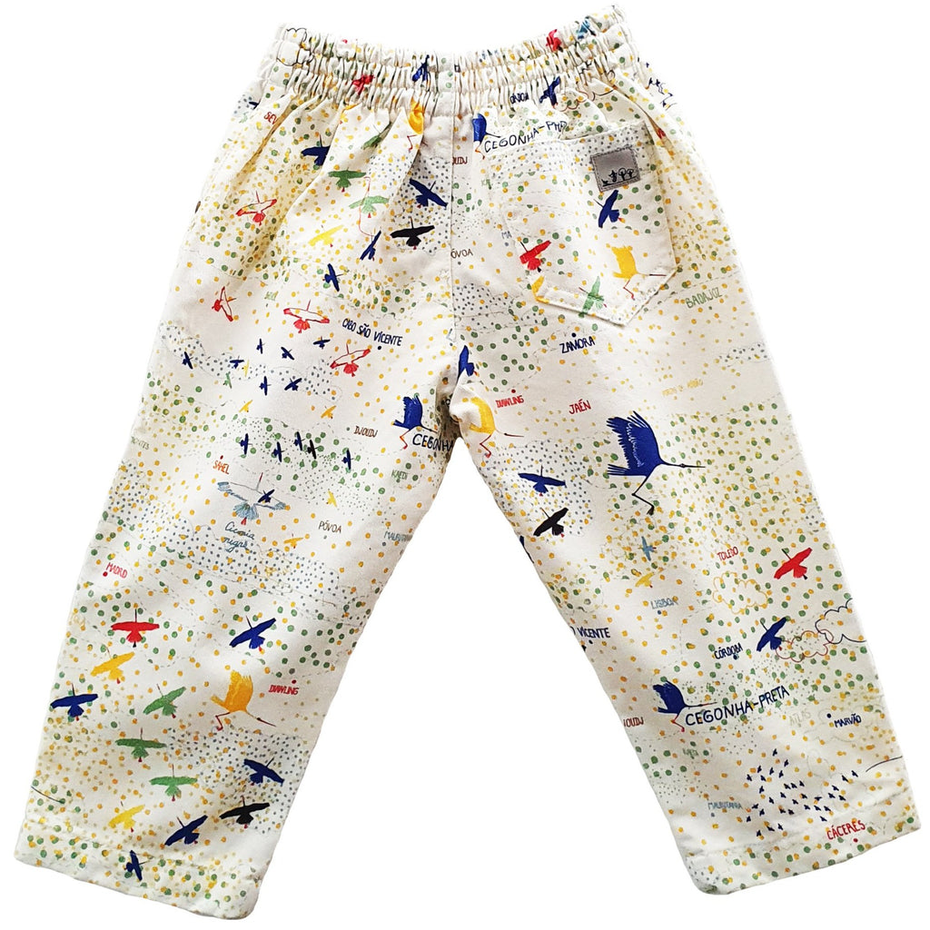 Cotton Twill Pants | Black Stork Print | White