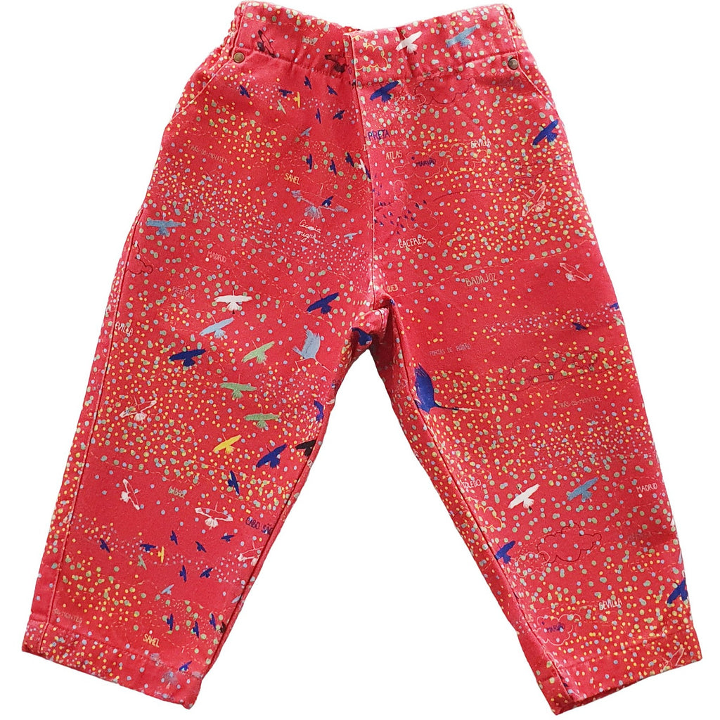 Cotton Twill Pants | Black Stork Print | Coral