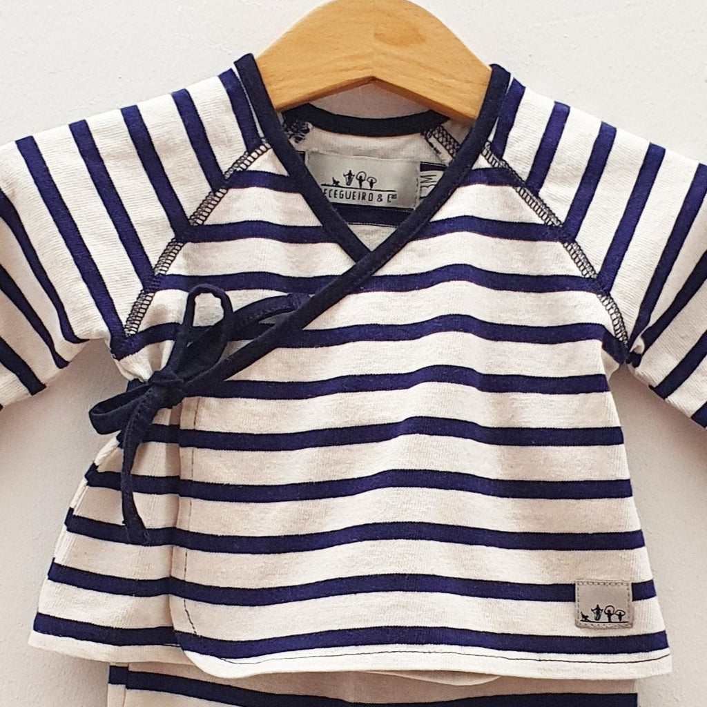 Jersey cache-coeur and trousers set - Navy stripes