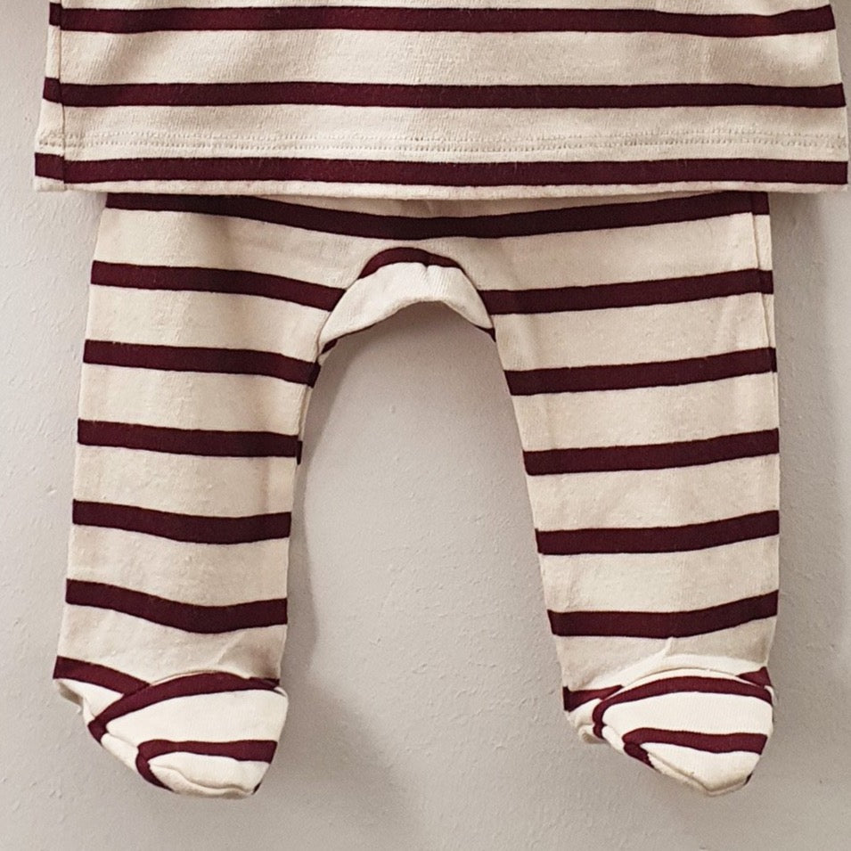 Jersey marinière and trousers set - burgundy stripes