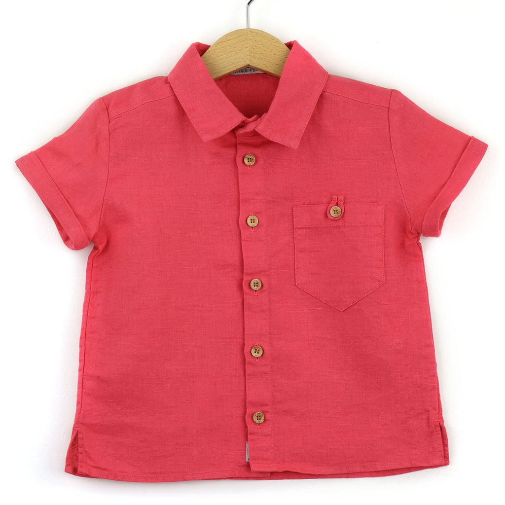 boys linen shirt, coral - front