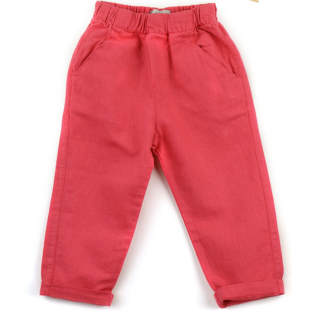 Trousers | Linen blend  | Coral