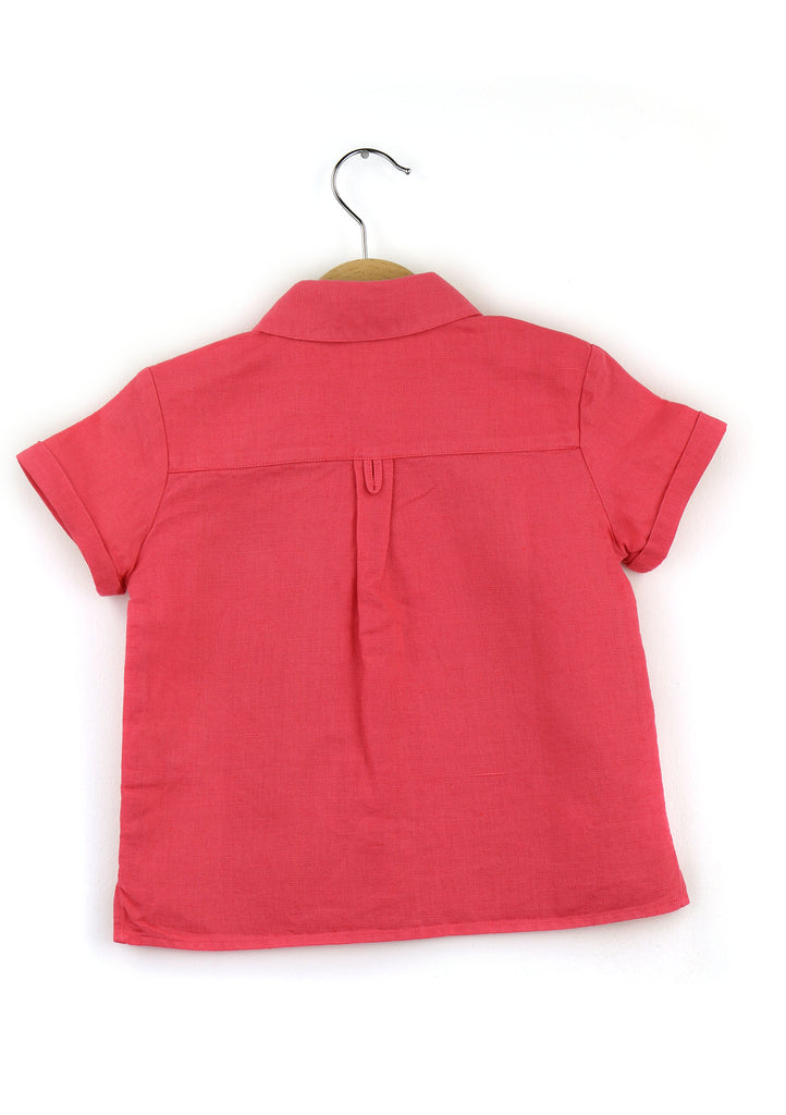 Boy shirt | Linen - cotton blend | Coral