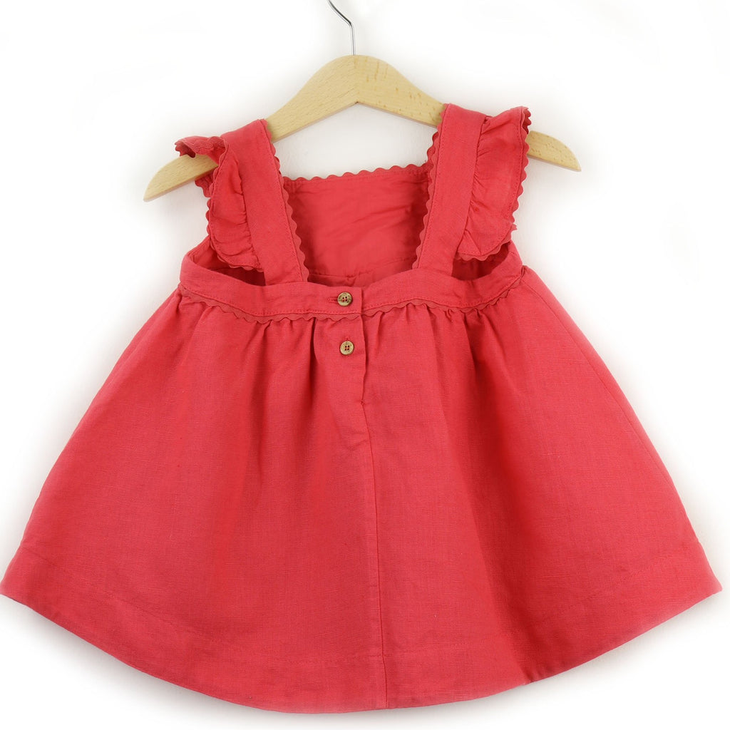 Girls Linen Dress  | Coral - PECEGUEIRO & F.os