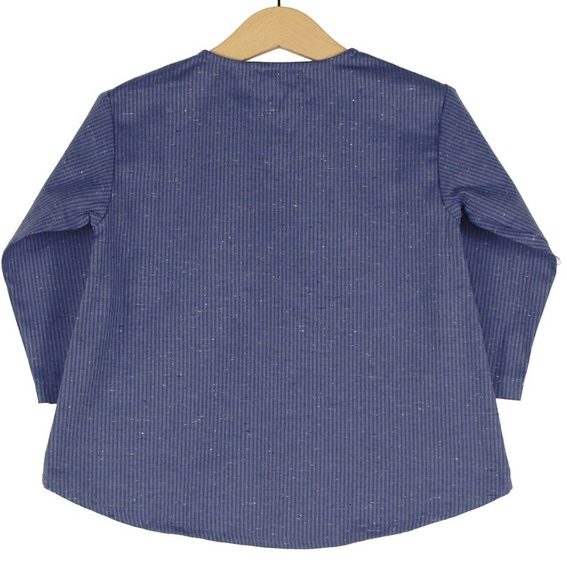 Chest pocket tunic | Blue and blue stripes