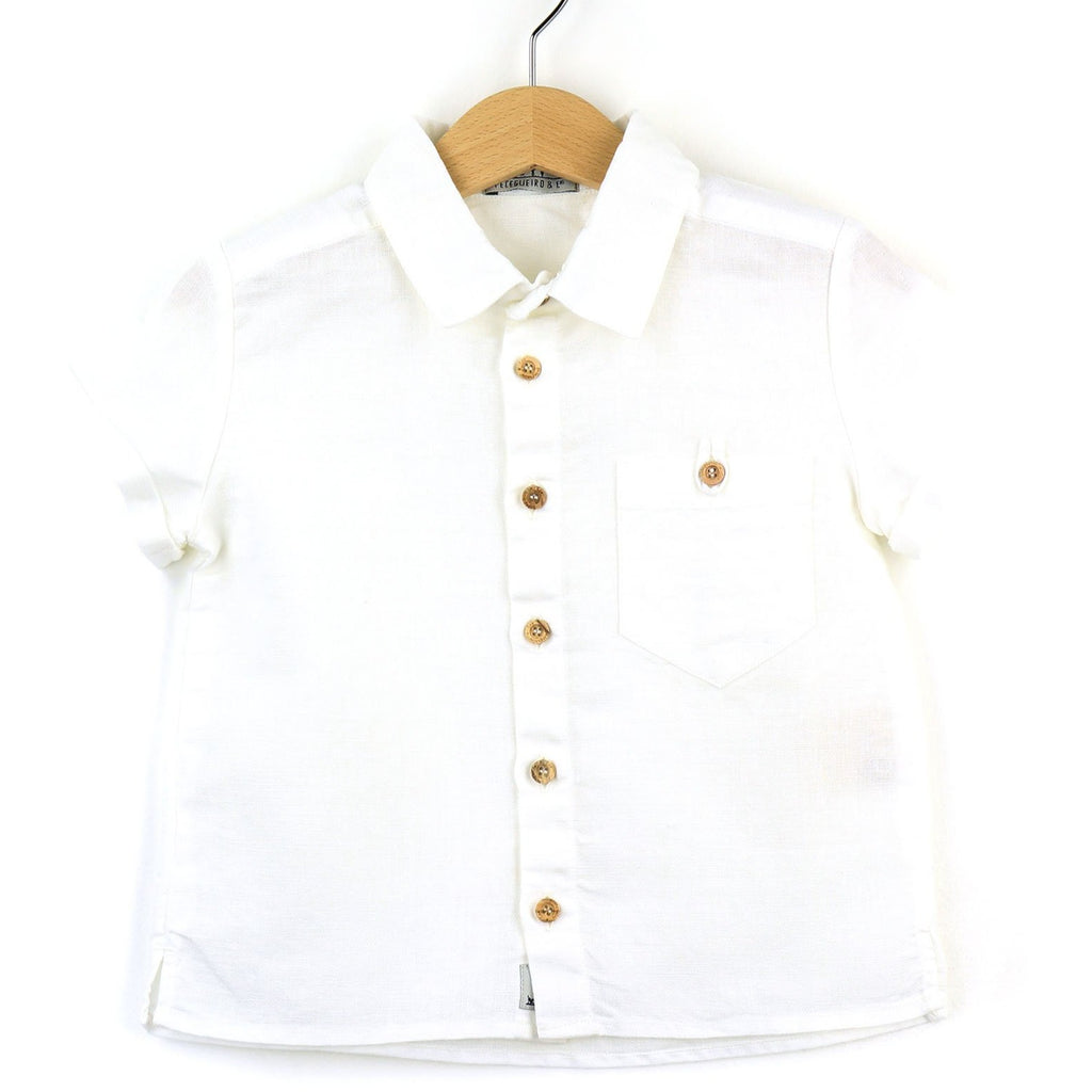 Boy shirt | Linen - cotton blend | White