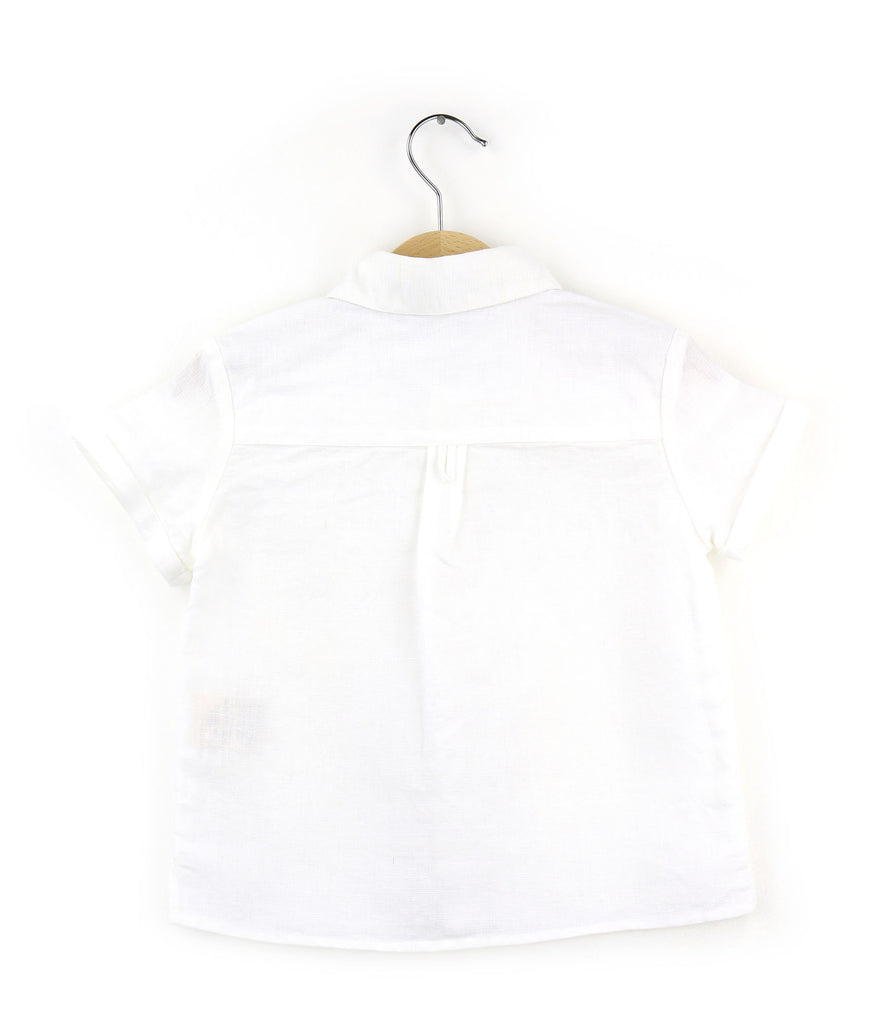 boys linen shirt, white - back
