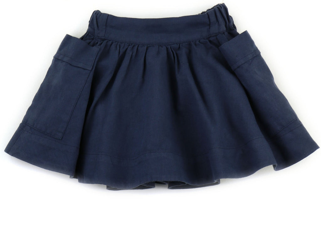 Linen blend Girls Skirt | Navy