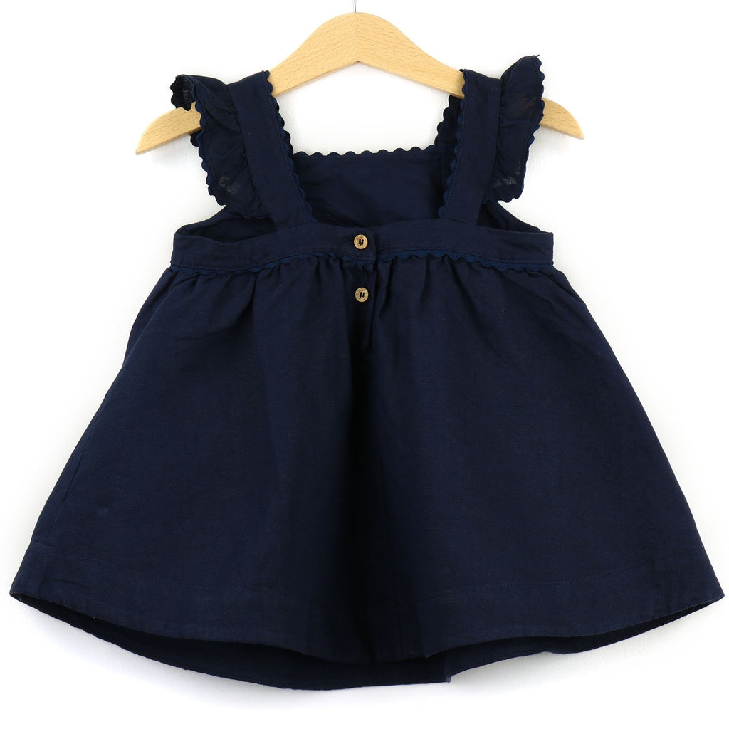 Girls Linen Dress  | Navy - PECEGUEIRO & F.os