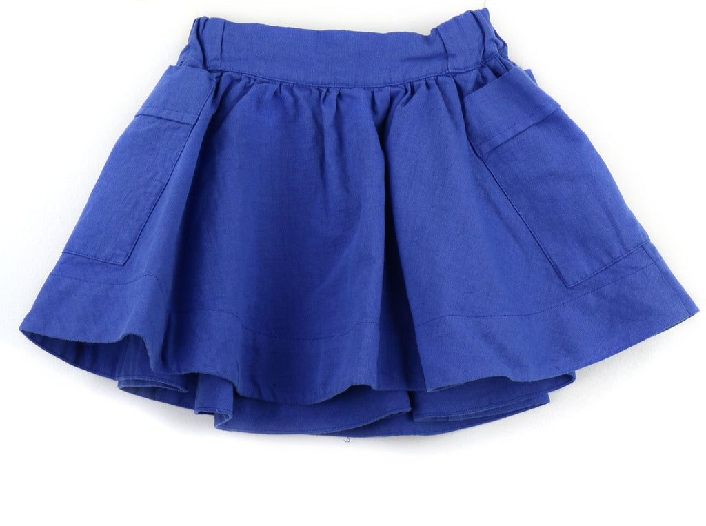 Linen blend Girls Skirt | Royal Blue