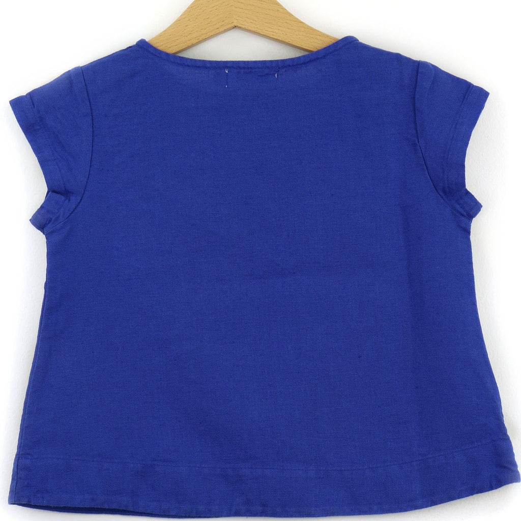Linen t-shirt with chest pocket, royal blue color - back