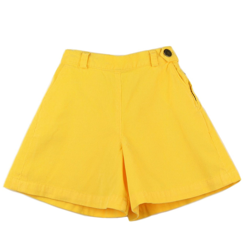 Girl culottes in Yellow corduroy - front