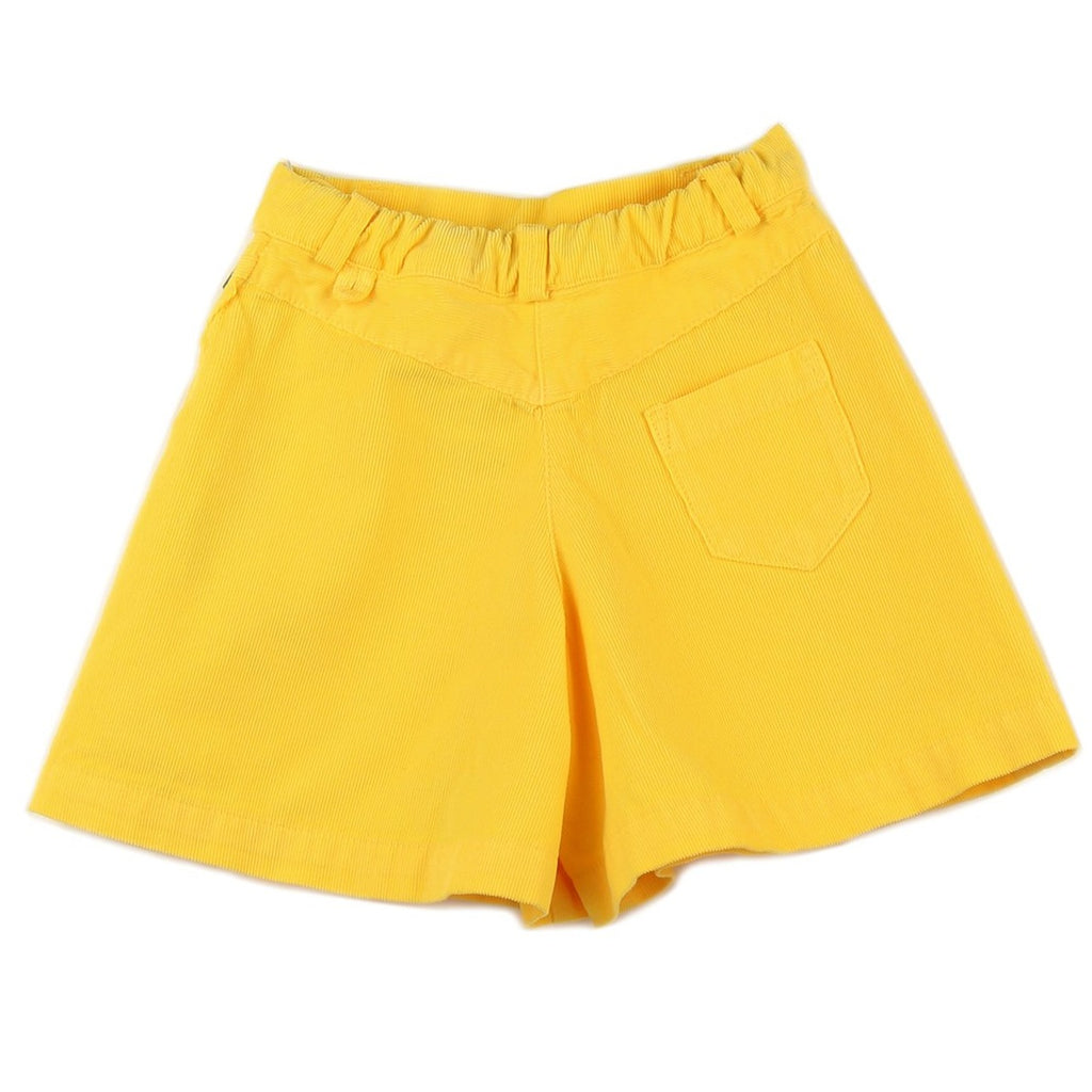 Girl culottes in Yellow corduroy - back