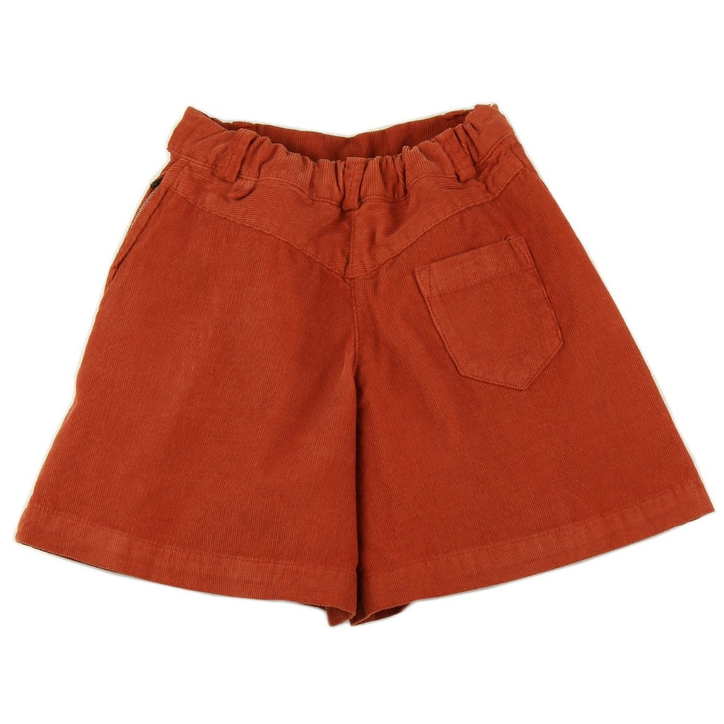Girl culottes in Brick corduroy - back