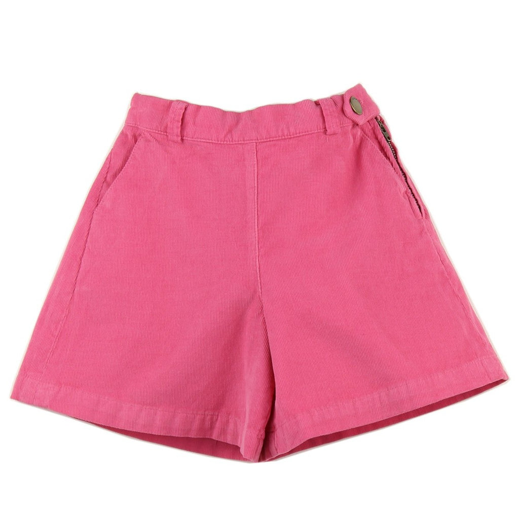 Girl culottes in Pink corduroy - front