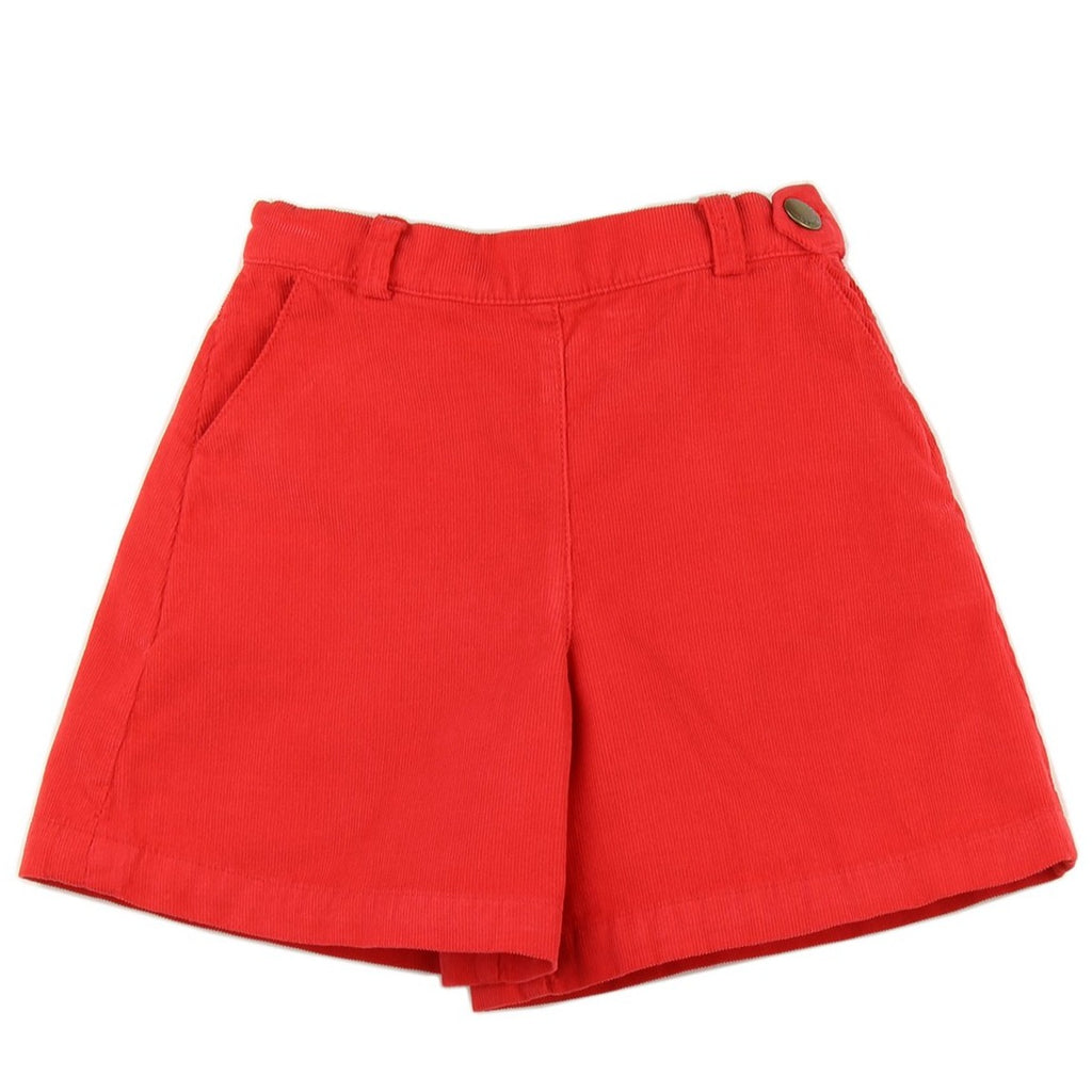 Girl culottes in Red corduroy - front