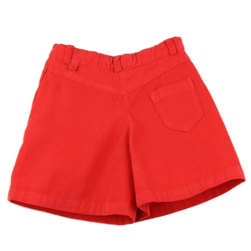 Girl culottes in Red corduroy - back