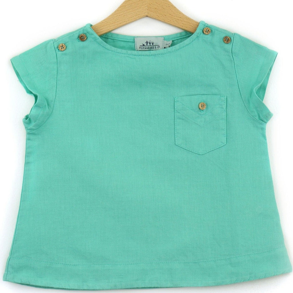 Linen t-shirt with chest pocket, teal color - front