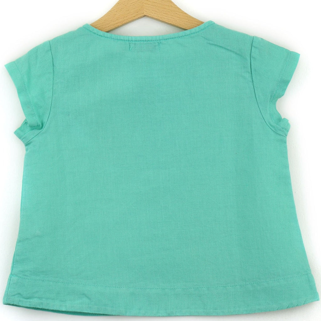 Linen t-shirt with chest pocket, teal color - back