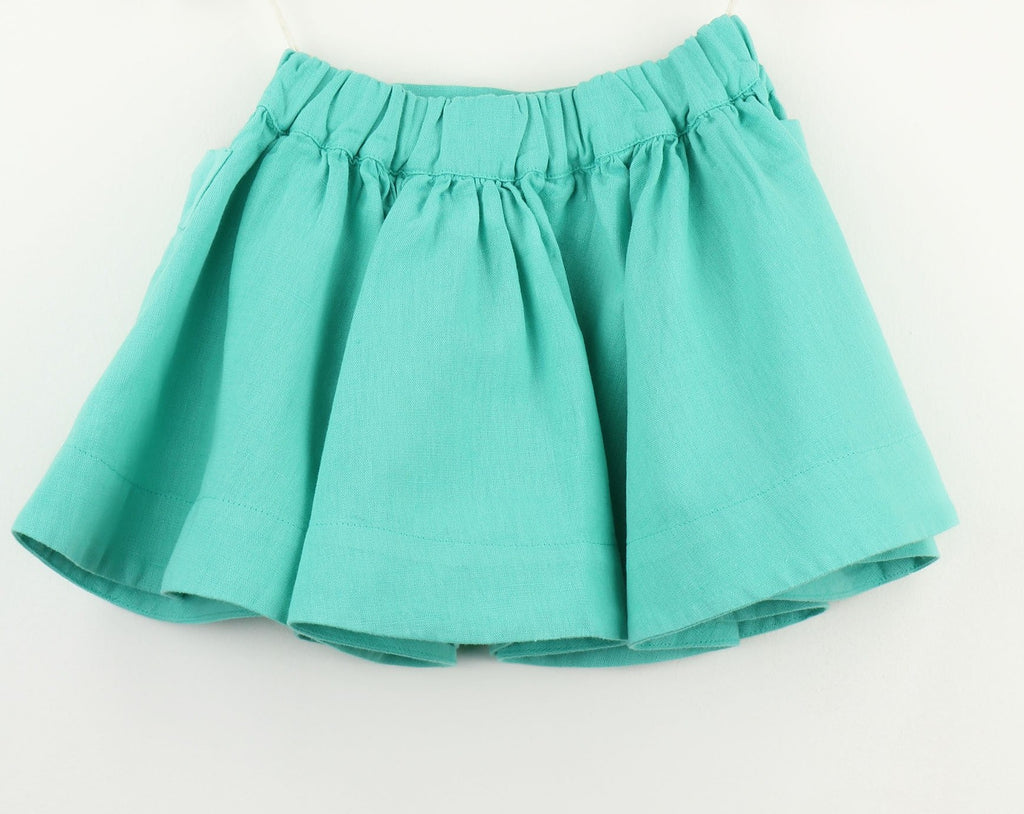 Linen blend Girls Skirt | Teal