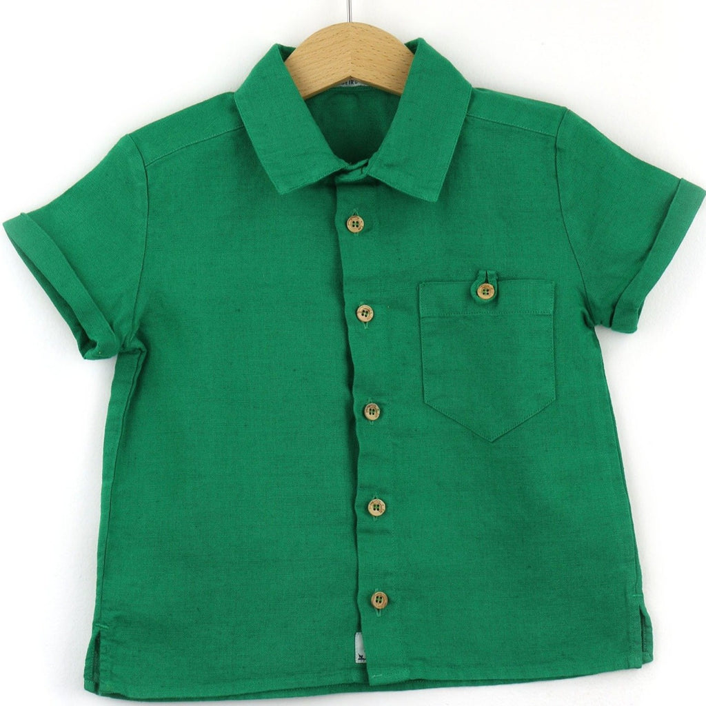 boys linen shirt, green - front