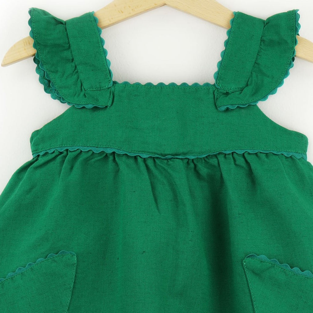 Girls Linen Dress  | Green - PECEGUEIRO & F.os