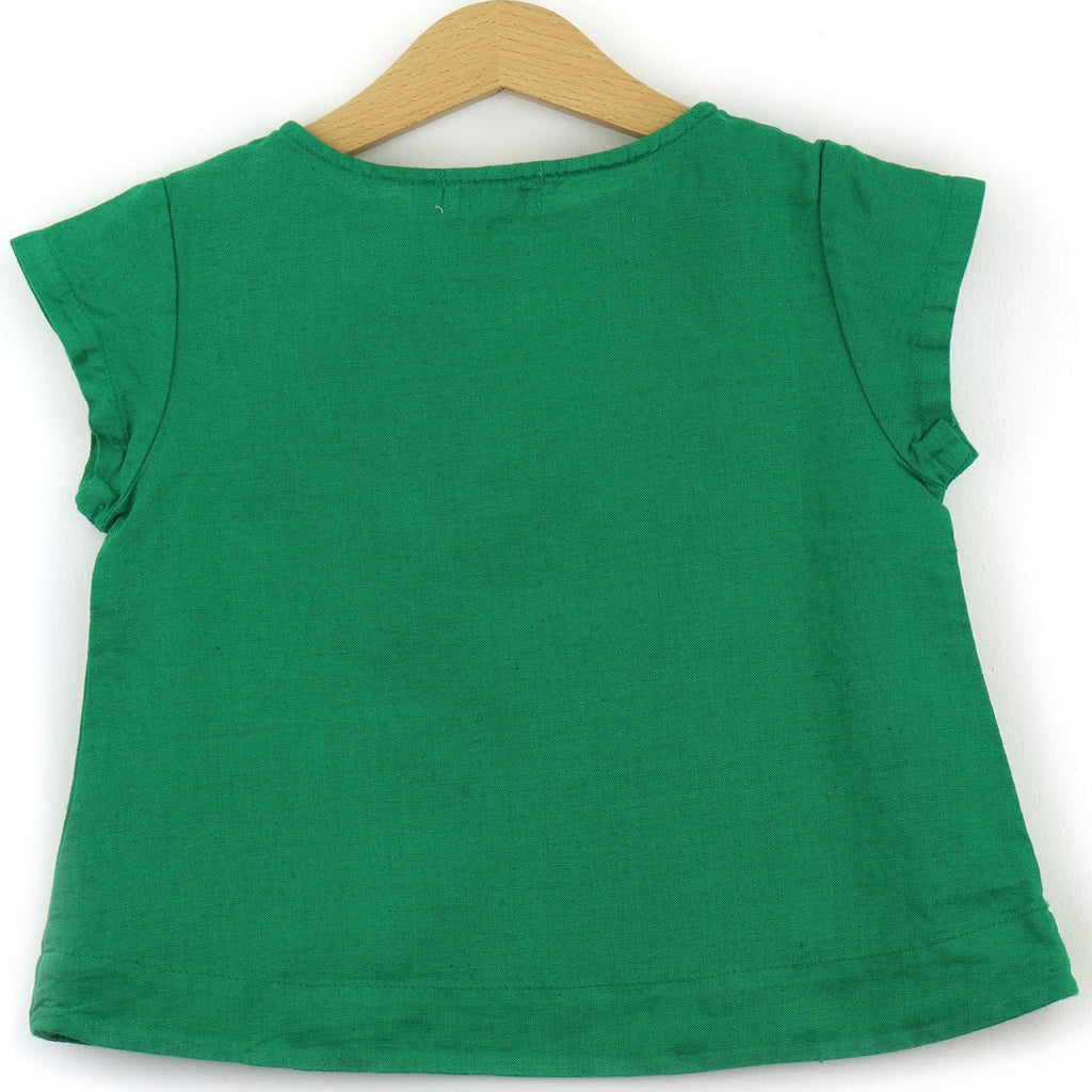 Linen t-shirt with chest pocket, green color - back