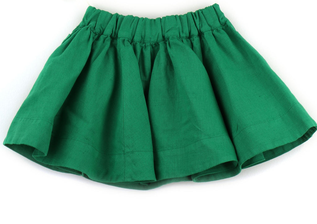 Linen blend Girls Skirt | Green