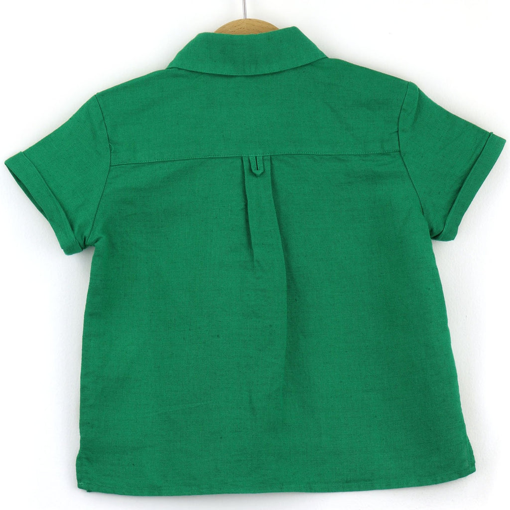 boys linen shirt, green - back