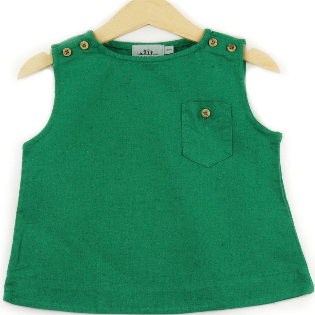 Linen Sleeveless T-shirt in Green color, buttons on shoulders and pocket - front