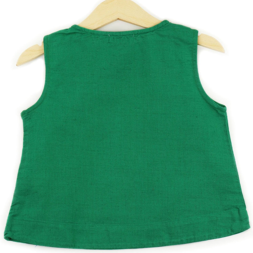 Linen Sleeveless T-shirt in Green color, buttons on shoulders and pocket - back