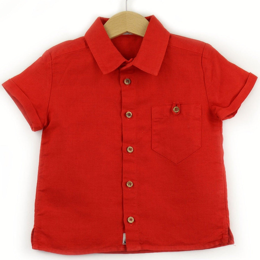 boys linen shirt, red - front