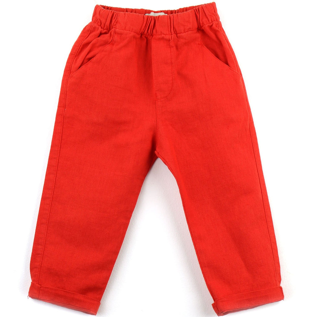Linen blend Pants | Red - PECEGUEIRO & F.os