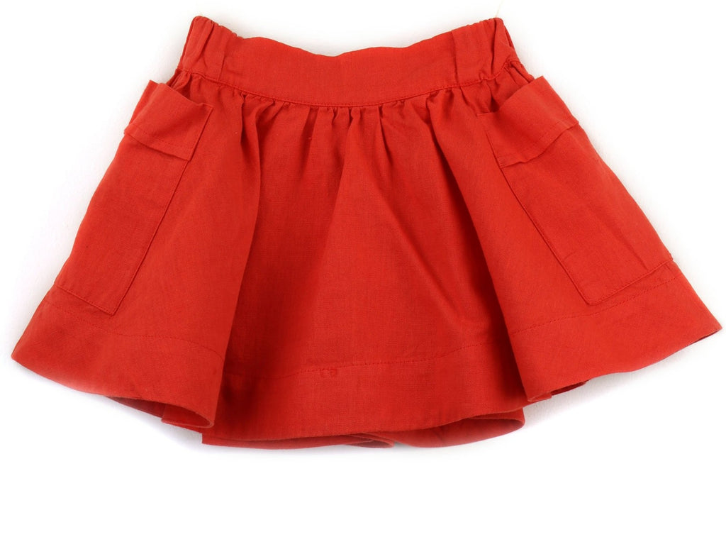 Linen blend Skirt | Red