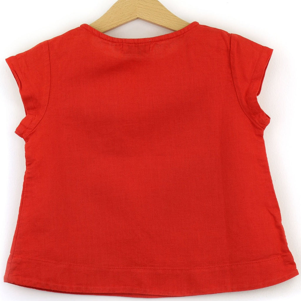 Linen t-shirt with chest pocket, red color - back
