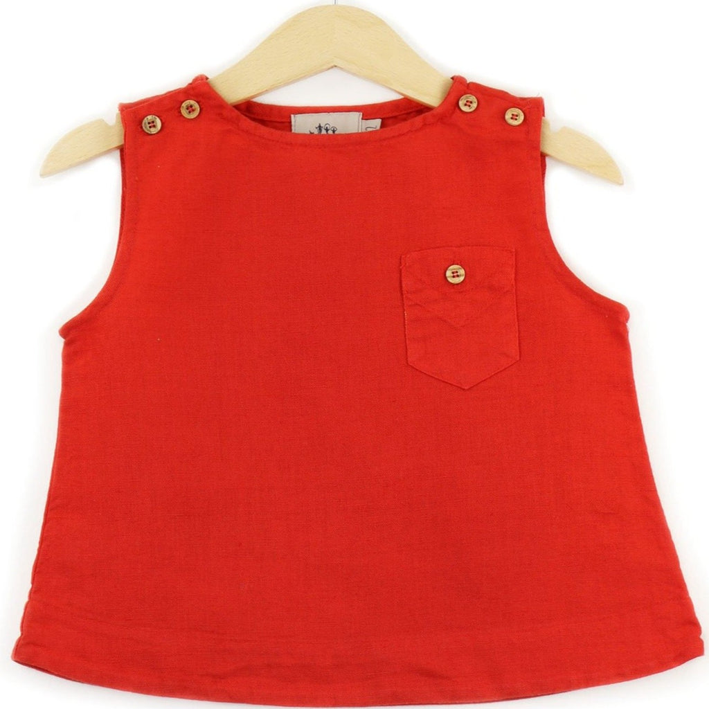 Linen Sleeveless T-shirt in Red color, buttons on shoulders and pocket - front