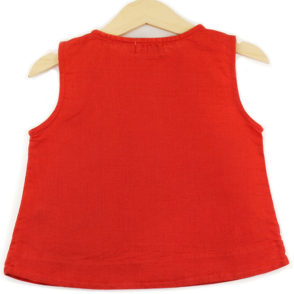 Linen Sleeveless T-shirt in Red color, buttons on shoulders and pocket - back